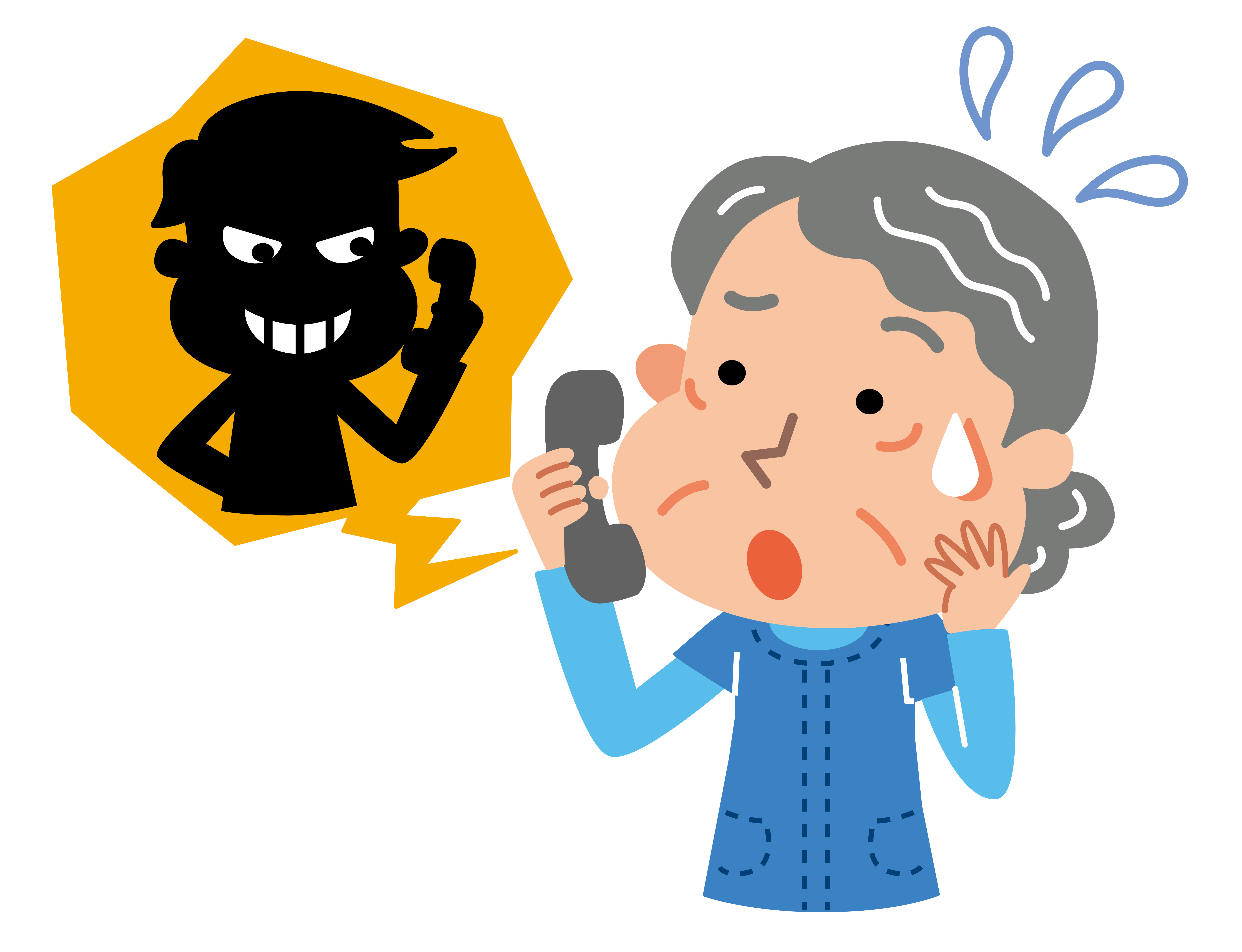 An elderly woman on the phone with a scam artist.