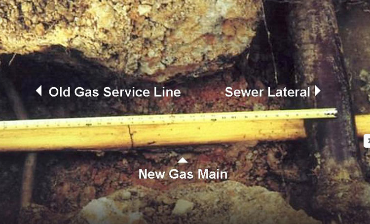 A PVC natural gas pipe with examples of sewer, old and new gas mainlines.