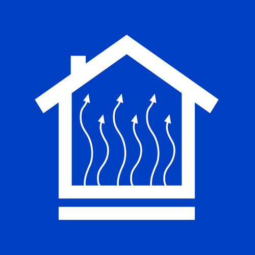 Icon of a home with space heating system.